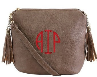 Monogrammed Gray Fashion Crossbody