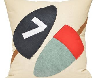 "21"" Buoy Pillow, navy& red, boating, fishing, cabin, lake house, lobster, Maine, Coastal Home, Beach House Decor, The Salty Cottage"