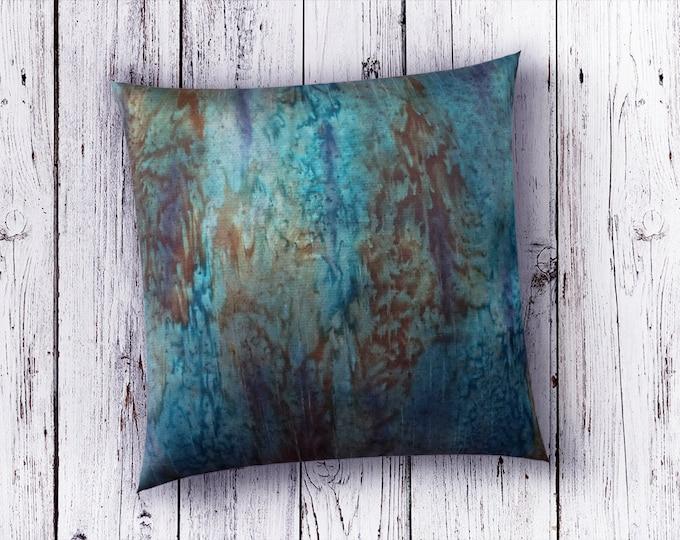 Teal Pillow Cover 18x18-Watercolor Silk Pillow-Teal Decor-Burnt Orange Pillow-Blue Pillow Cover-Home Decor Gifts-Watercolor Home Decor