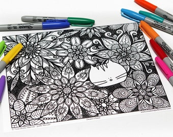 Mandala coloring, drawing #6437 printed on cardboard, coloring of relaxation, flower and cat