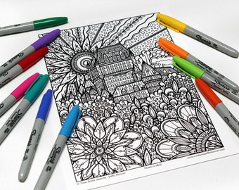 Mandala coloring, drawing #9835 printed on cardboard, coloring of relaxation, Château Frontenac in Quebec City