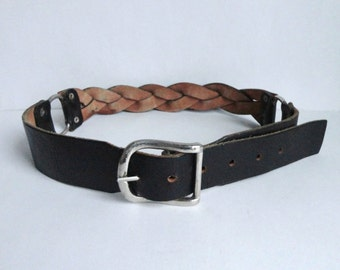 Solid 70s Black Braided Vintage Leather Belt With Silver BuckleAnd Rings