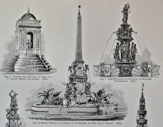Fountains print.  Architecture engaving. Old book plate, 1897. Antique illustration. 119 years lithograph. 9'6 x 11'7 inches.