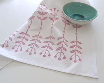 Hand Printed Tea Towel, Organic Cotton