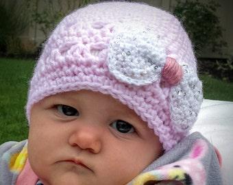 Baby Girl Crochet Hat,Infant Girl Knitted Beanie With Bow,Baby Girl Crochet Winter Hat, Girl Crochet Fancy Hat, Baby Girl Gift