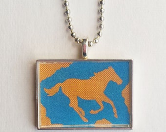 Checkered Horse Charm, Blue Yellow Jewelry, Resin Pendant, Cowgirl Gift, Equine Necklace, Pet Lover, Wild Animal, Equestrian, Pony Rider