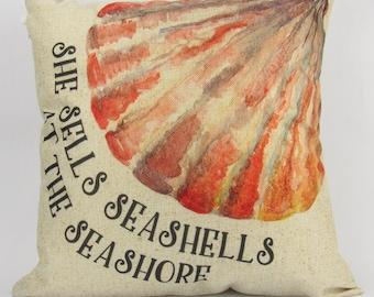 She Sells Sea Shells at the Sea Shore - Pillow Cover