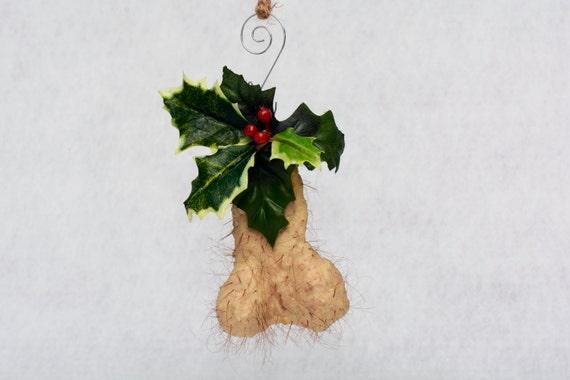 Holly jolly nut sack hairy christmas ornament