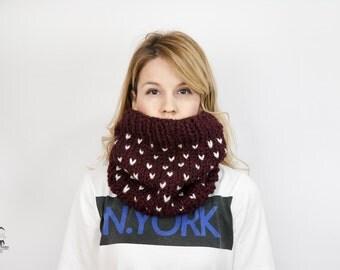 Fair Isle Cowl - Chunky Knit Cowl Scarf -Vine & Cream Women's Neckwarmer - Pull on Snood - Knitted Cowl - Snug Neckwarmer in Burgundy Color