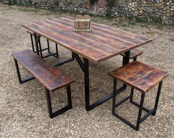 Industrial Rustic Table Dinning Room Set With Bench and Stools Farmhouse