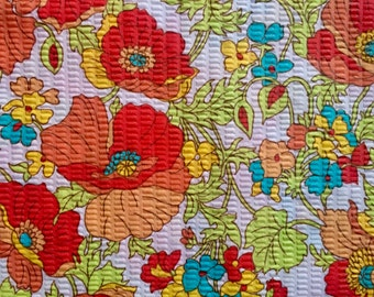 1960s 1970s Vintage Cotton Pique Floral Fabric Red Orange Green Yellow Blue White Poppy Poppies Flowers Textured 3/4 yard yardage