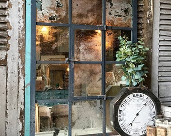NOW SOLD - Vintage French Architectural / Industrial Mirrored Window Frame