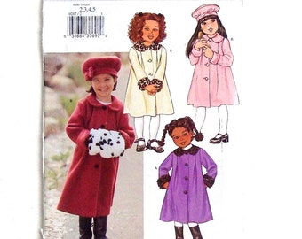 Butterick Toddler Girls' Winter Coat, Hat and Muff Sewing Pattern #P287 - UNCUT and Factory Folded - Sizes 2+3+4+5