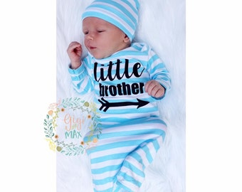 Little brother Baby boy gown blue stripe gown Black baby gown coming home outfit - blue gown going home set brand new, baby shower gift