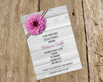 Pink Dahlia Shower Invitation, Digital Printable File