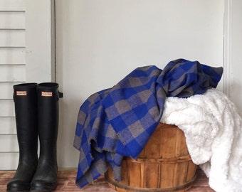 Buffalo Plaid Flannel Throw Blanket // Rustic Home Decor // Blue + Gray // Campfire Blanket