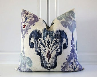 Mill Creek Decorative Pillow Cover- Indigo % Purple Ikat Fleur De Lis