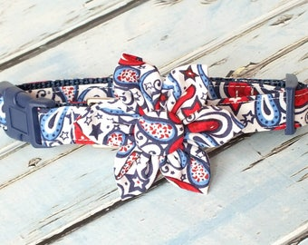 Patriotic Paisley Dog Collar Set, flower for dog collar, wedding flower, pet collar flower, collar flower