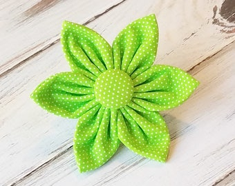 Lime Pin Dot Flower for Dog collar, Cat collar, collar flower, pet collar flower, wedding flower, flowers for dog collars