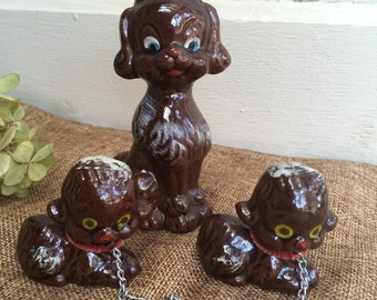 Vintage Kitsch Terra Cotta Brown Poodle Set  Redware Poodle Made In Japan Retro 1950's