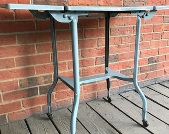 Vintage Rolling Typewriter Table Bar Cart Side Table Plant Stand Gray Paint