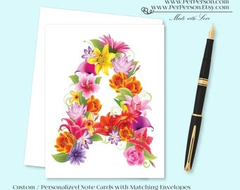 Free Ship!  Set of 12 Personalized / Custom Notecards, Boxed, Blank Inside, Floral, Flower, Tropical, Brights, Monogram, Name, Initials
