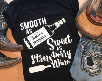 Smooth as Tennessee Whiskey Sweet as strawberry Wine - Chris Stapleton country music Inspired Design Tank Racerback T Shirt