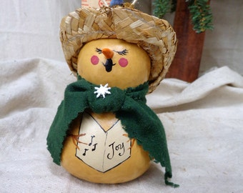 Hand painted and crafted gourd art rustic snowman ornament with straw hat by Debbie Easley