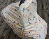 Stretchy Car Seat Cover/Canopy - Wild Flower Girl- Also functions as Nursing Cover