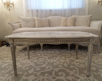 Gorgeous Antique French Louis Marble Top Coffee Table French Grey Ornate Details
