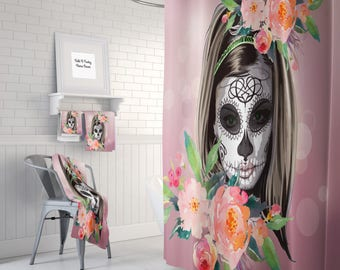 "Sugar Skull Shower Curtain , Day Of The Dead , ""Amalia "" Girl  Diva Skull , Dark Pink"