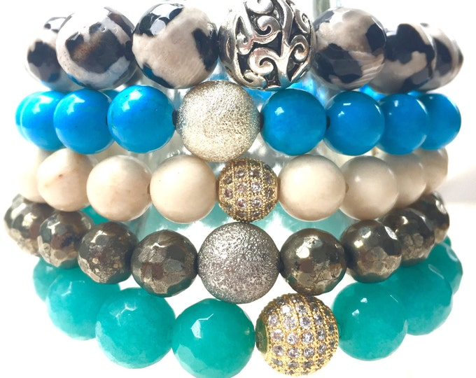 Bracelet Stack of Agate, Turquoise,Fossil and Amazonite. Easy slip on bracelet. A Power Stack!4