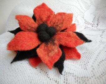 Felt Flower brooch,Orange Black Felt brooches flower,felt brooch,wool felt pins,handmade jewelry,flower brooch, halloween brooch,hair flower