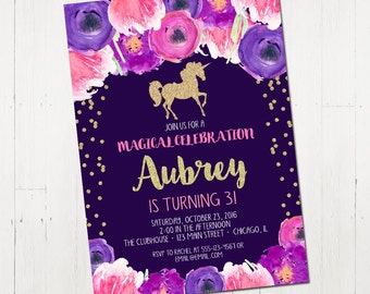 Unicorn birthday invitation, unicorn invitation, purple unicorn invitation, unicorn party hot pink magenta gold glitter Printable Invitation