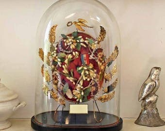 Antique Globe de Marriage / Vintage Globe de mariee/ Victorian Oval Hand Blown Glass Dome with wax Flowers