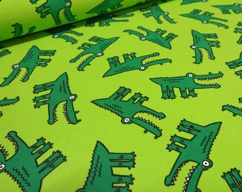 Fabric Cotton Jersey crocodiles green fabric by the metre little Darling - 47-123481-3002