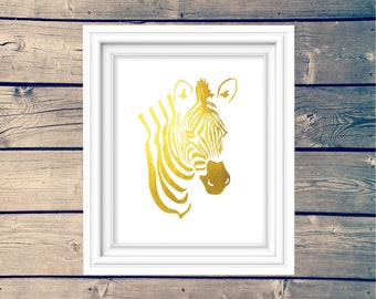 Gold Zebra Nursery Printable, Zoo Animal Kid's Wall Art, African Safari Poster, Instant Download, Playroom Sign, Golden Zebra Decor