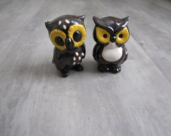 Vintage Brown and Yellow Owl Figurines - set of 2