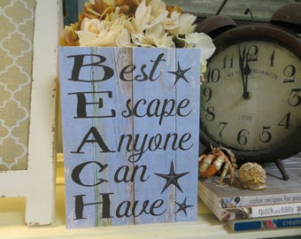"Wood Beach Sign, ""BEACH...Best Escape Anyone Can Have"", Beach House Decor, Beach Themed Room"