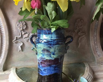 Vase with Decorative Handles - Slip Trailed Waves- Aurora Borealis Glaze - Wheel Thrown Pottery