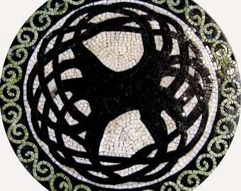 Round Modern Art Mosaic- Tangle