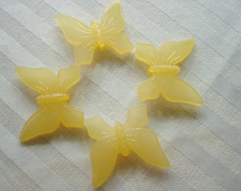 42mm Giant Acrylic Butterflies. 6pc. *42x37x9mm. 2mm Hole. Translucent, Smooth Jelly Bead. Center Drilled . ~USPS Ship Rates/Oregon