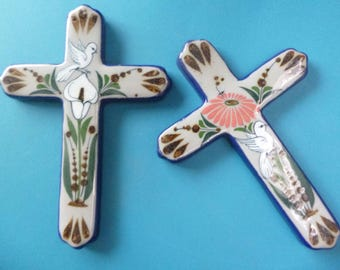 Ceramic hand painted crosses #2 made in Tonala, Mexico