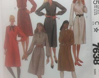 1980s Dress, McCall's 7638, Sewing Pattern, Pullover Dress, Tunic Dress, Long Sleeve Dress, Belted Dress, Shirt Dress,Size 10-14 pattern