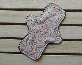 Reusable Slim Fit Panty Liner Cream Floral Print Cotton Bamboo Fleece Cloth Sanitary Pad