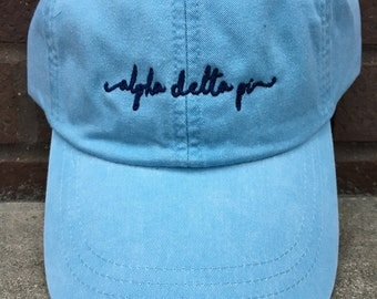 Alpha Delta Pi Handwriting Script Baseball Cap - Officially Licensed ADPi Cap - Alpha Delta Pi Shoreline Hat
