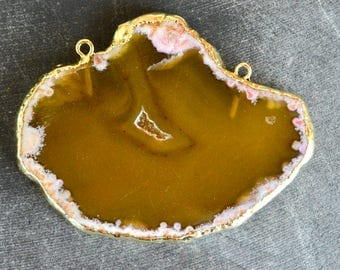 60mm Gold Edged Agate Pendant Connector 24K Gold, Gold Electroplate Agate Slice Pendant Agate Geode Slice, Golden Yellow 60x47mm