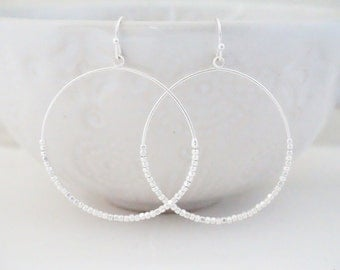 Silver Matte Beaded Hoop Earrings