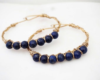 Dark Blue and Gold Beaded Wire Wrapped Bracelet