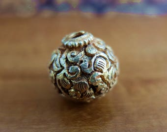 Two Tibetan Hand Carved Vermeil on Copper Beads
